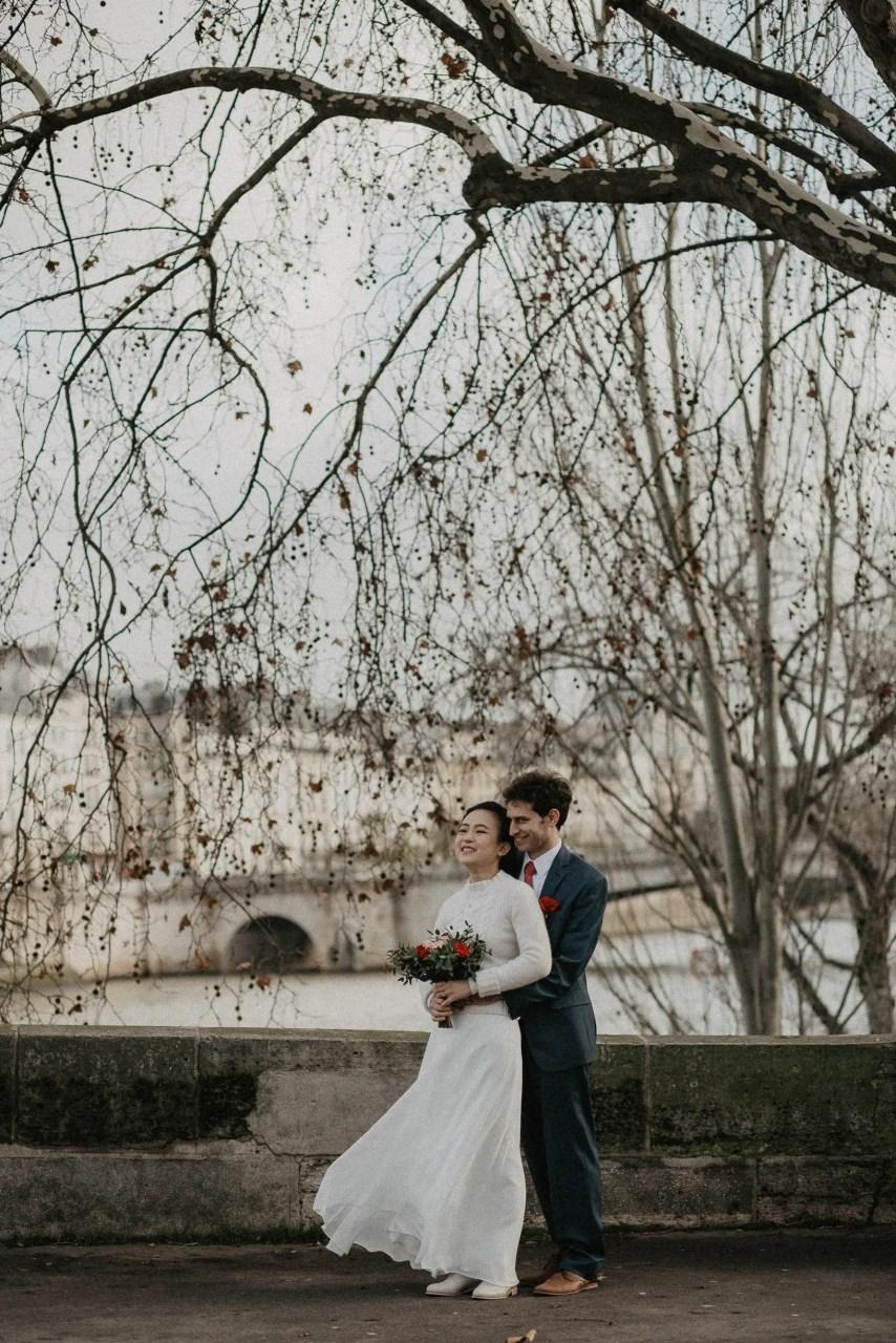 Winter Wedding photography Paris Seine river