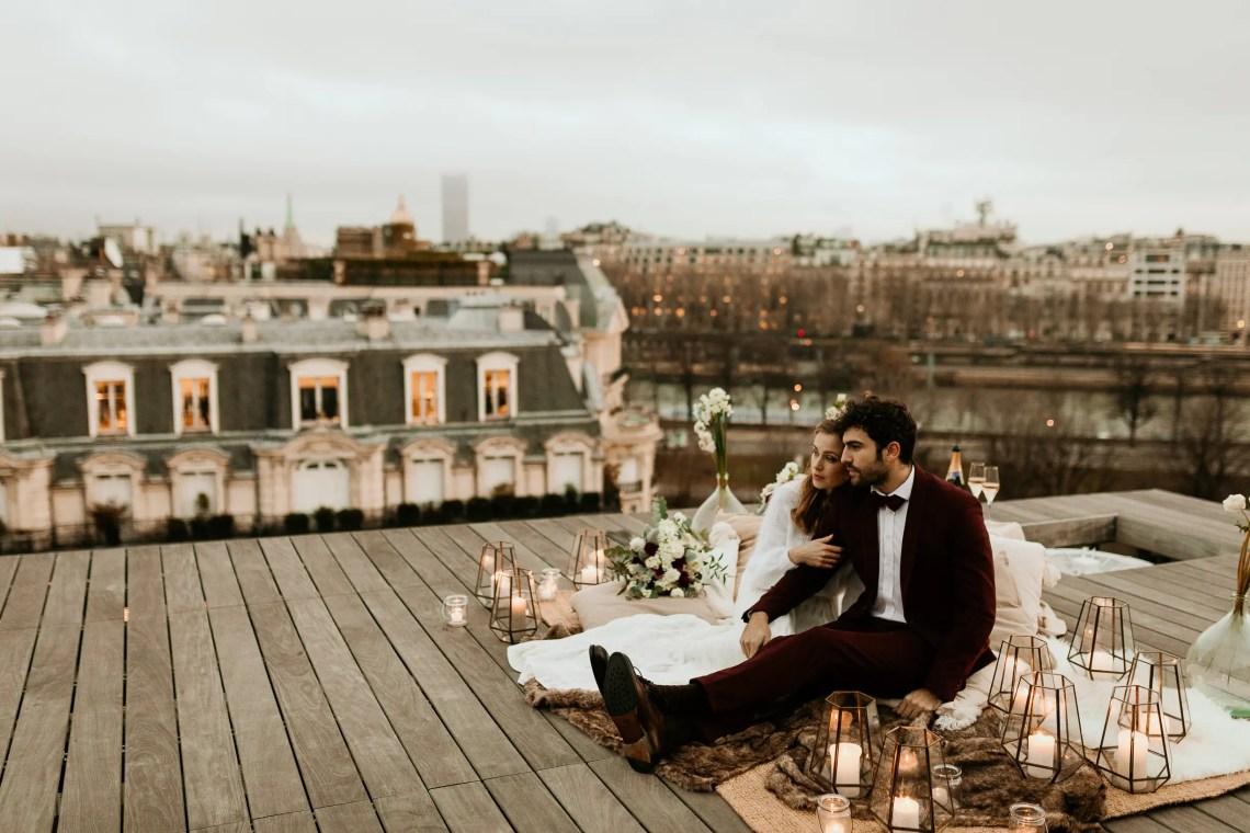 wedding Paris rooftop elopement photography