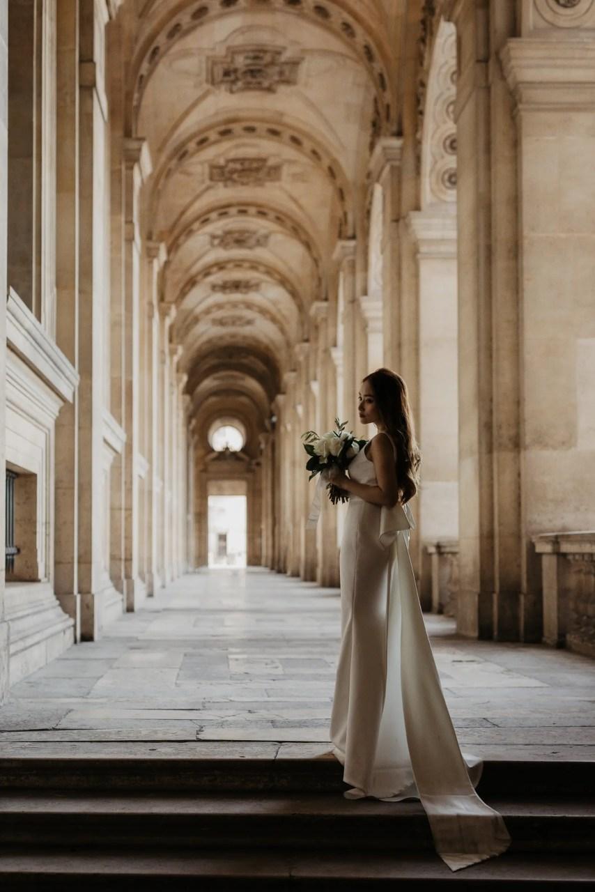 louvre bridal wedding photo