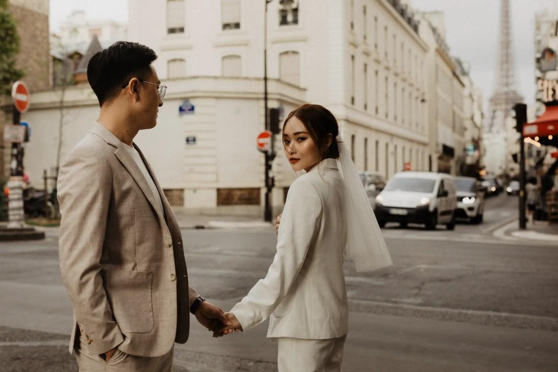 paris rue saint dominique wedding photo