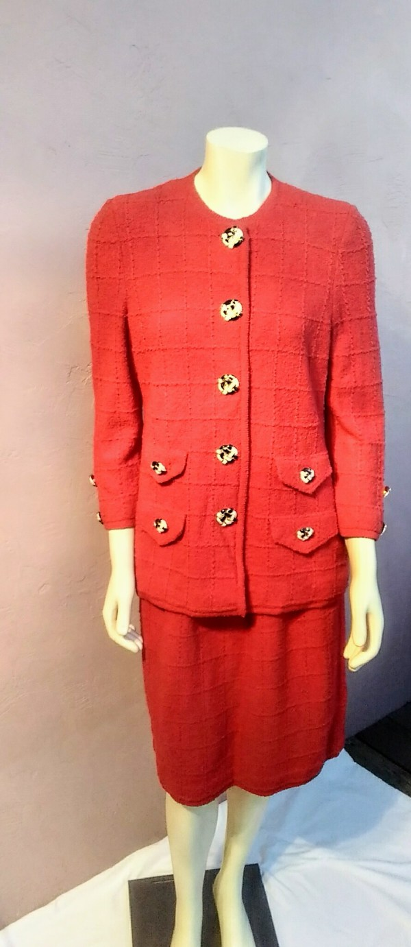 6cdc84e7f8b9a Vintage 1980's Designer Adolfo At Saks Fifth Avenue Chanel Inspired Red  Wool Suit