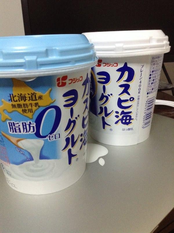 カスピ海ヨーグルトプレーン400g(フジッコ)生乳100%と脂肪ゼロの比較