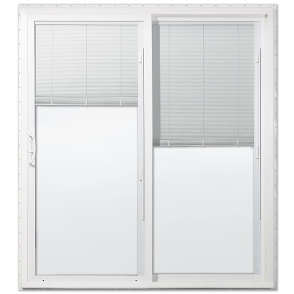 72 in x 80 in blinds between the glass white vinyl right hand sliding patio door with screen
