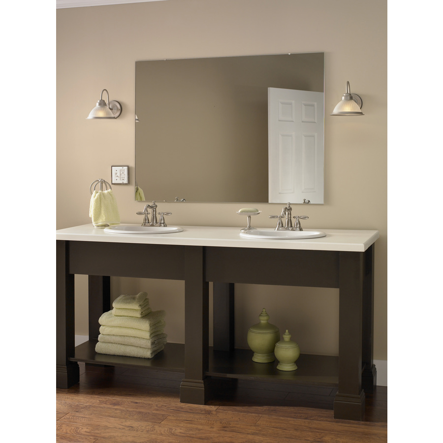Style Selections 36 In X 48 In Silver Polished Rectangle Frameless Traditional Wall Mirror Lowe S Canada