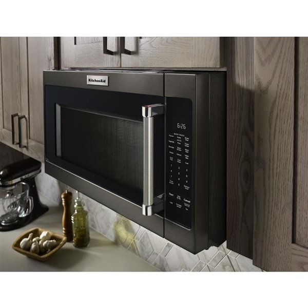 kitchenaid 30 in 2 cu ft over the range microwave black stainless steel