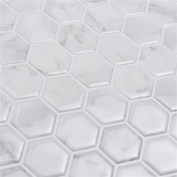 Wallpops Hexagon Peel Stick Backsplash Tiles 20 In X 20 In Marble Lowe S Canada