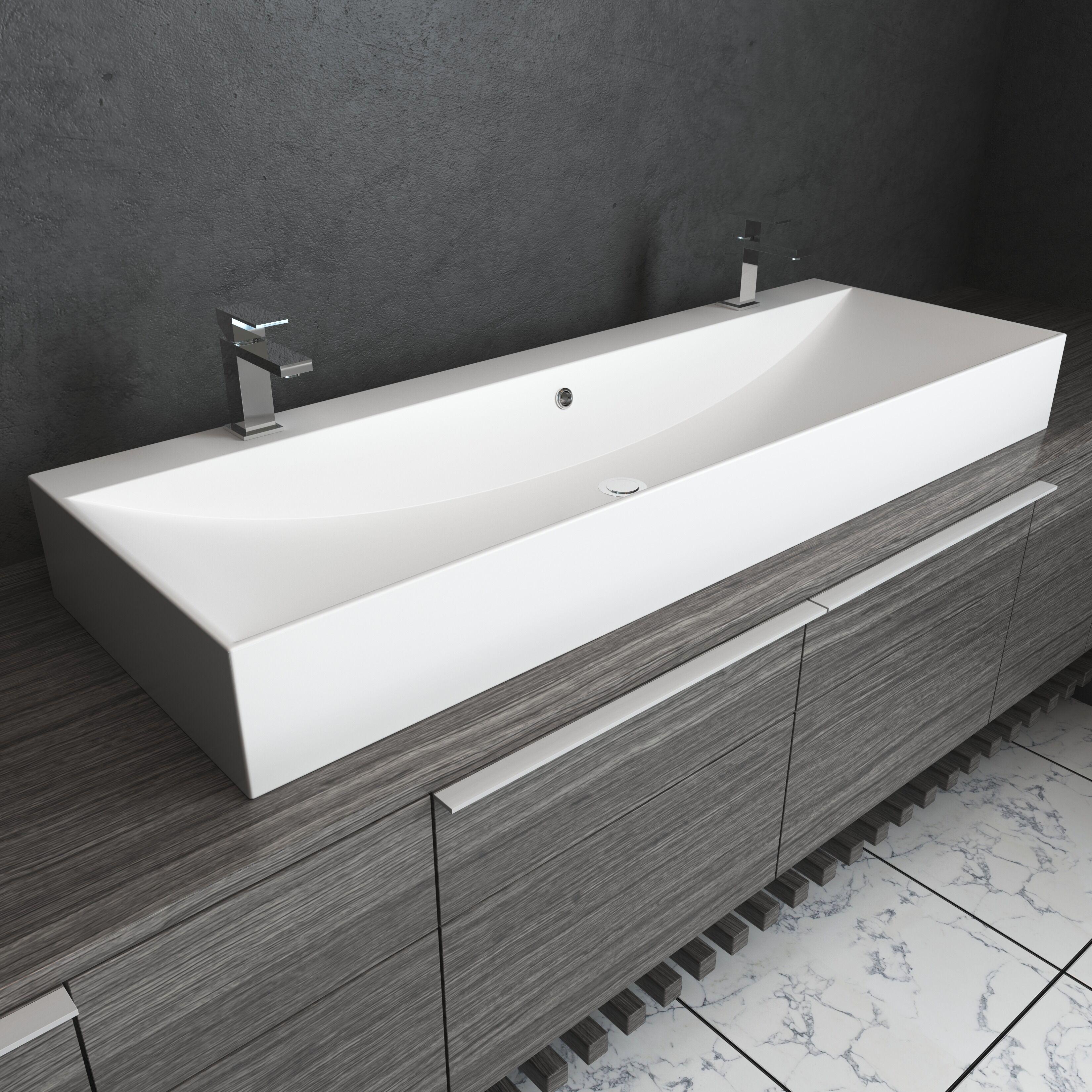 cantrio koncepts double faucet modern trough sink 46 x 12 x 5 5