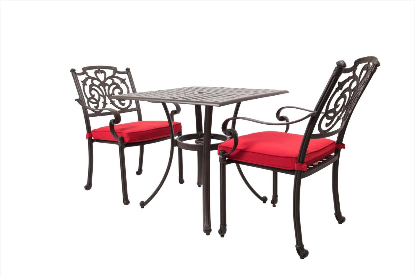 wd patio sandals bistro set aluminum red