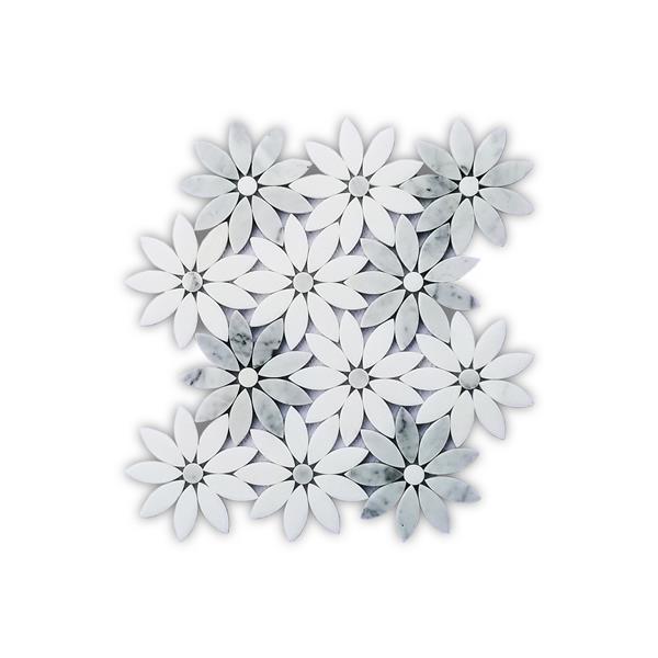 jl tile flower marble mosaic tile grey 5 box 9 5 in x 11 in