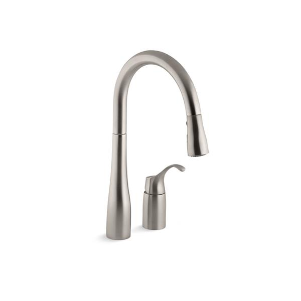 kohler simplice pull down kitchen sink faucet 1 handle stainless steel