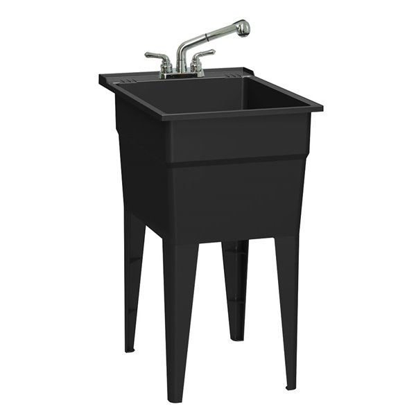 ruggedtub all in one laundry sink with faucet narrow classic black 18 in