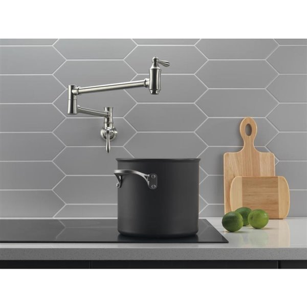 delta traditional brilliance stainless 2 handle pot filler wall mount traditional kitchen faucet