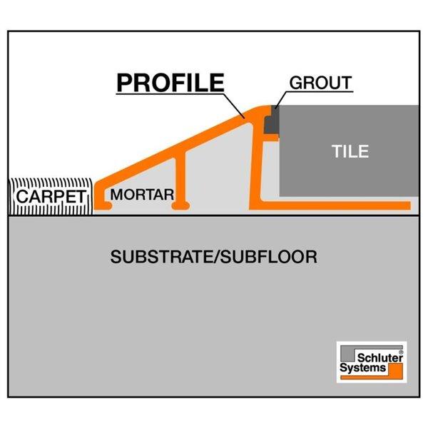 schluter systems 3 8 in satin nickel aluminum u tile floor transition trim