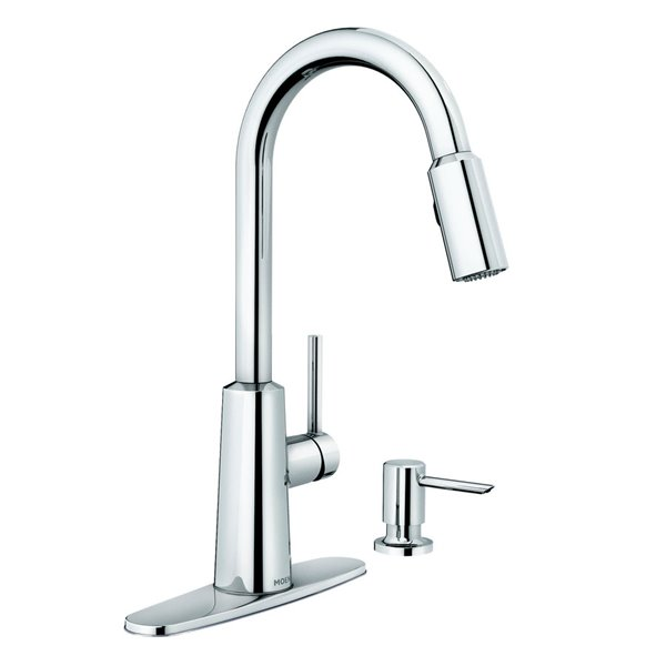 moen nori chrome one handle pull down kitchen faucet with soap dispenser
