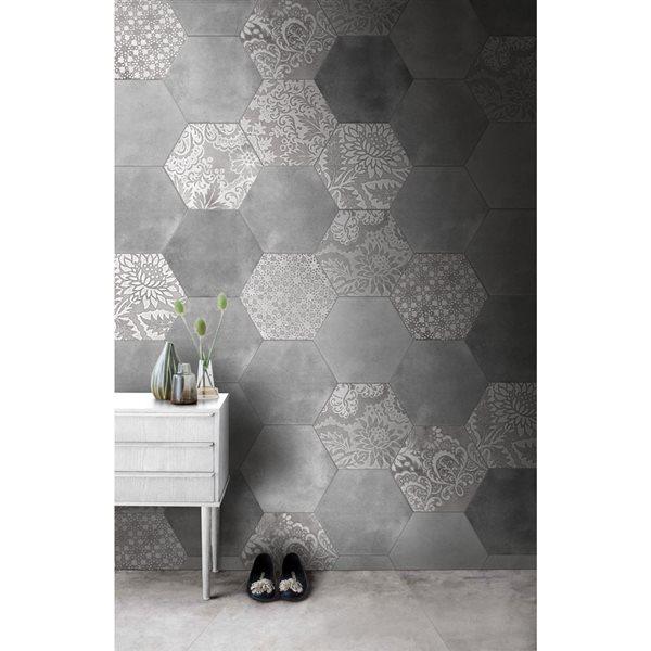faber moroccan 10 in x 12 in decorative silver hexagon porcelain floor tile