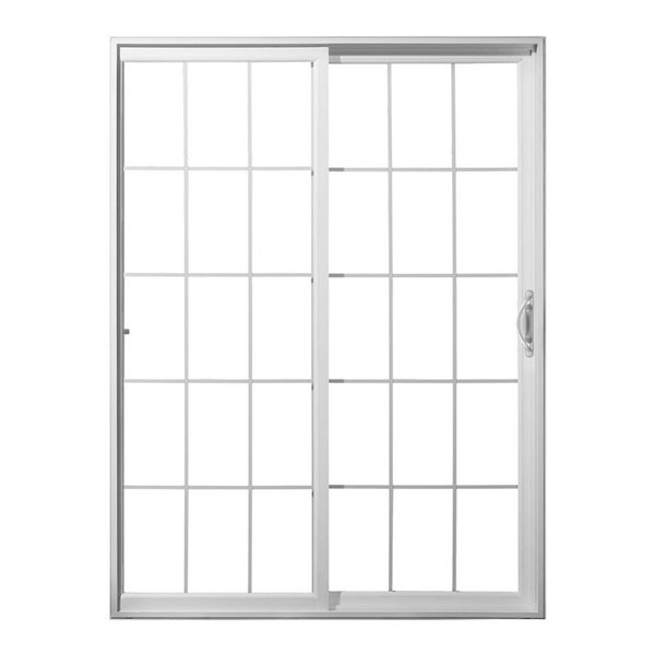 72 in x 80 in grilles between the glass white vinyl right hand sliding patio door with screen
