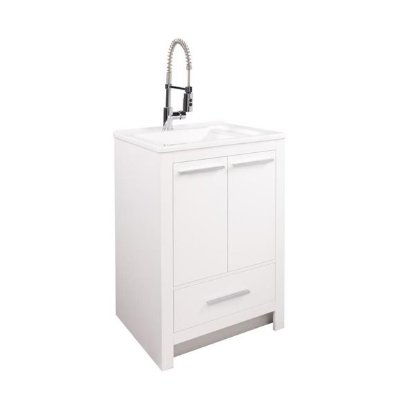 25 in laundry vanity combo w 12 in deep acrylic sink and faucet