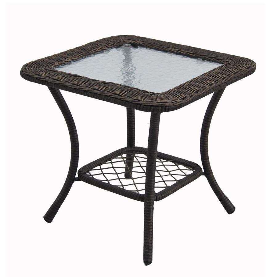 style selections 21 in spruce hills woven square patio side table