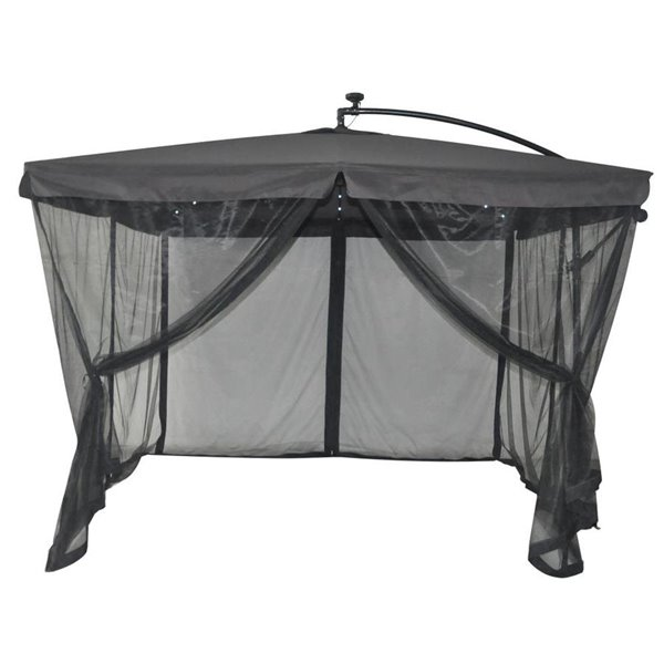 style selections 10x10 ft offset umbrella with netting and solar led lights grey canopy
