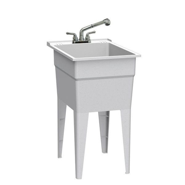 technoform 18 x 24 5 granite gray freestanding polypropylene laundry sink utility sink with and faucet