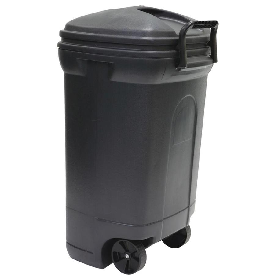 blue hawk 35 gallon black plastic commercial residential outdoor wheeled trash can lid s included