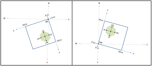 small resolution of study plot diagrams showing origins ne or sw for the local cartesian system tree stem locations crown measurements and crown coefficients are reported