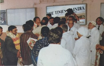 Mr. Owaisi at the airport after receiving MCI recognition