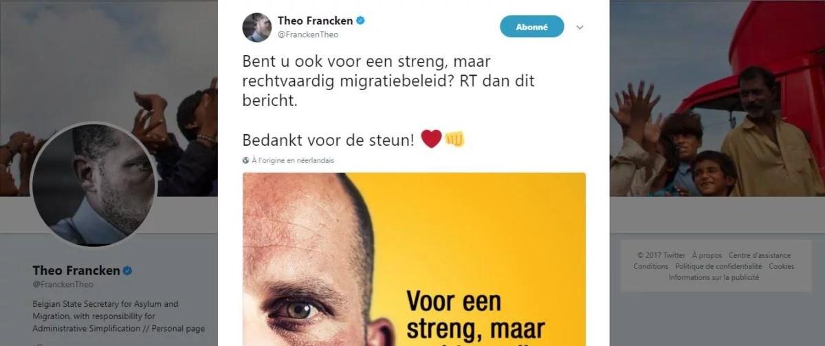L'appel au soutien de Theo Francken sur Twitter tourné en dérision