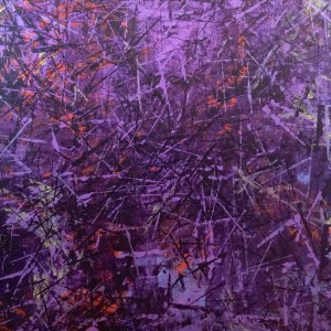 People, Hell and Angels by Karen Gozzo Nolan is a black , red and purple abstract with many straight lines.