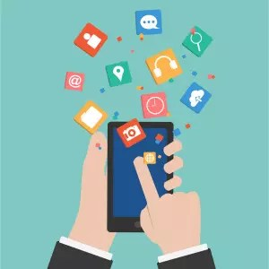Vector Hands touching a Smart phone with Social Marketing icon