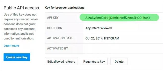 Google Developer Console: the new API key