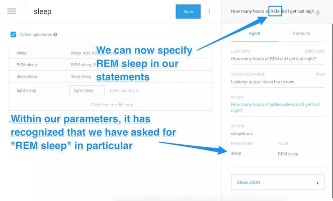 Testing our assistant by asking them about REM sleep