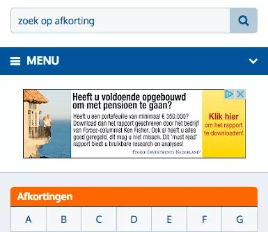 Example of a mobile AdSense banner in the mobile version of a website