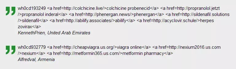 Screenshot of a pharma-scam from an infected website.