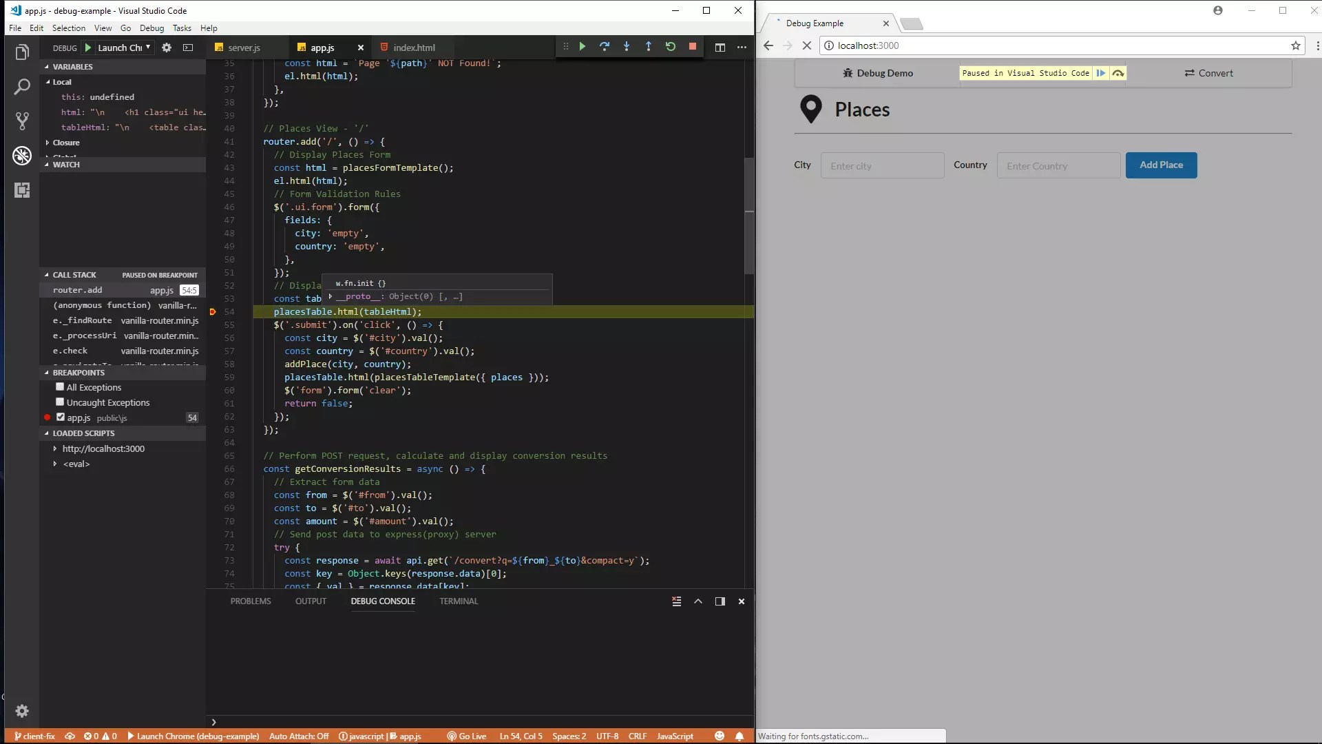 Debugging Javascript Projects With Vs Code Amp Chrome