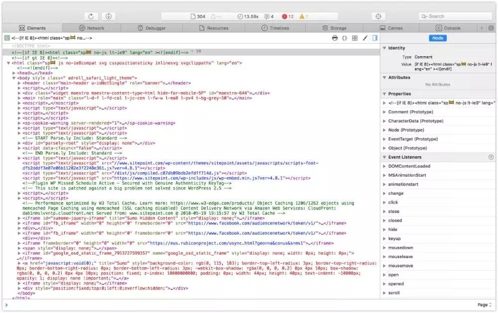 Safari 11 developer tools