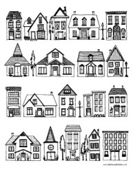 Houses Coloring Page Dabbles & Babbles
