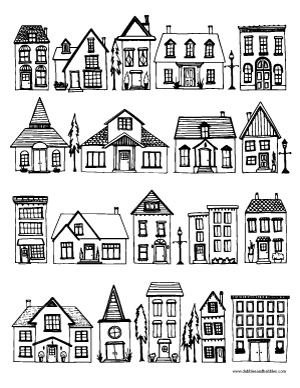 houses coloring page - dabbles
