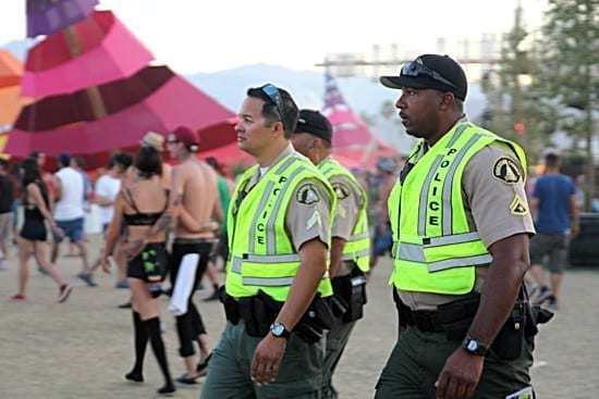 Security roam Coachella festival, looking for drug dealers