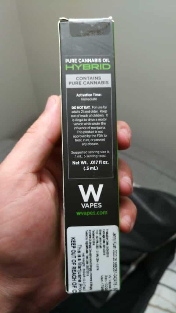 w vapes syringe back of box