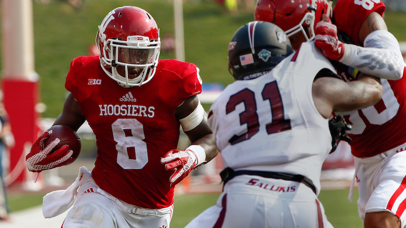 BLOOMINGTON, IN - SEPTEMBER 5: Jordan Howard #8 of the Indiana Hoosiers runs the ball against the Southern Illinois Salukis at Memorial Stadium on September 5, 2015 in Bloomington, Indiana. Indiana defeated Southern Illinois 48-47. (Photo by Michael Hickey/Getty Images)