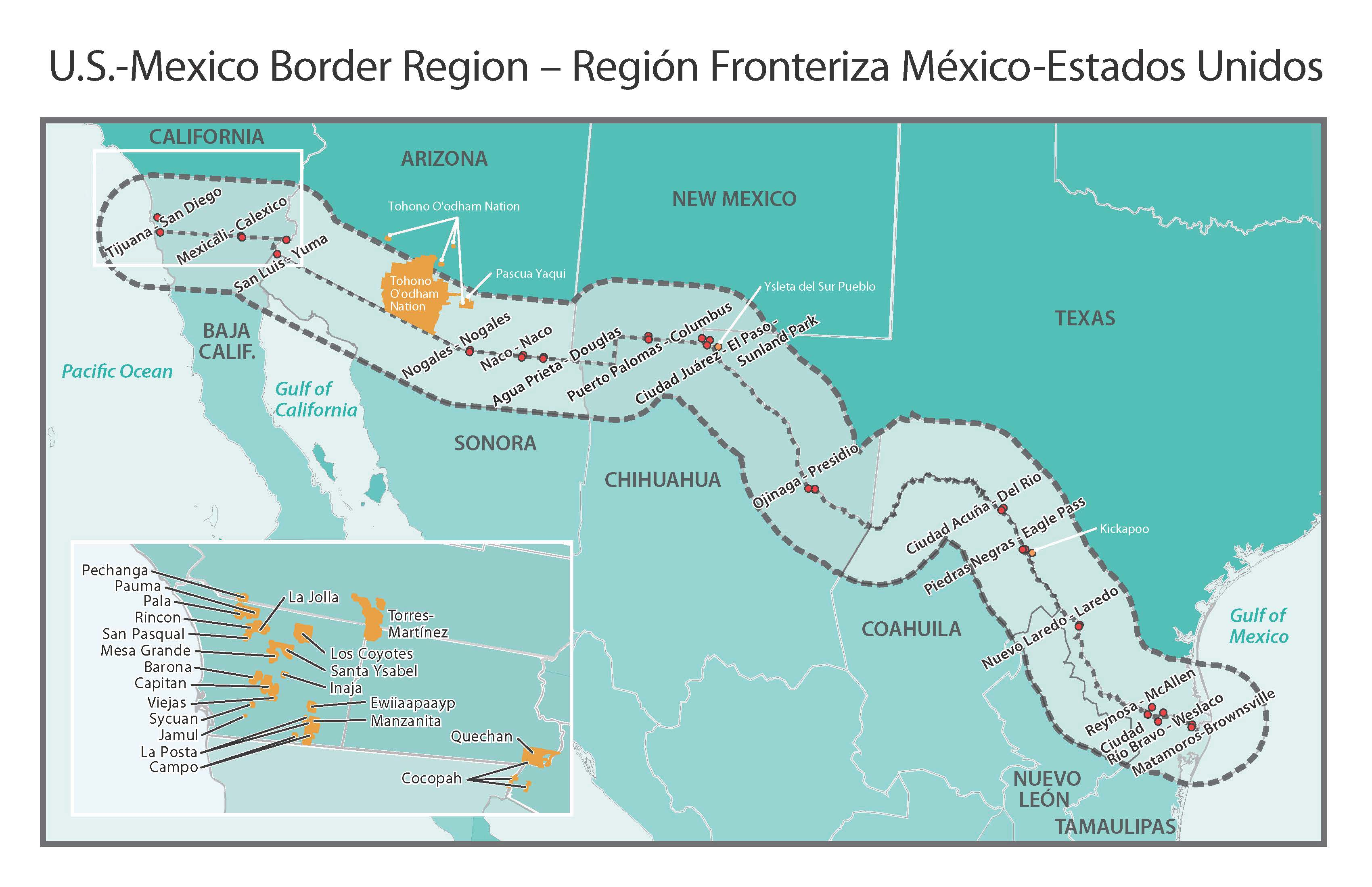 Us Mexico Border Region Map