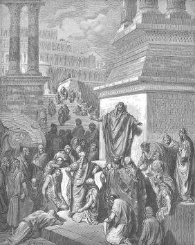 Illustration of Jonah preaching to the Ninevites