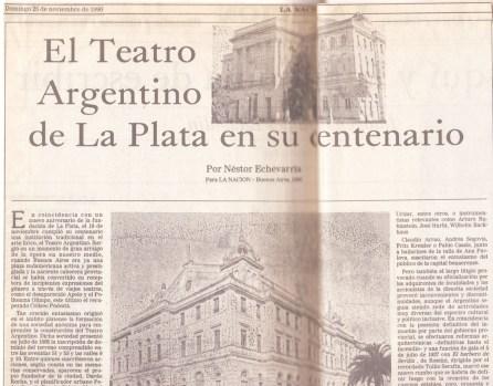 El Teatro Argentino de La Plata en su centenario (25/11/1990 La Nación).