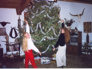 My sister, Shannon Arritola, and me Christmas at her house.