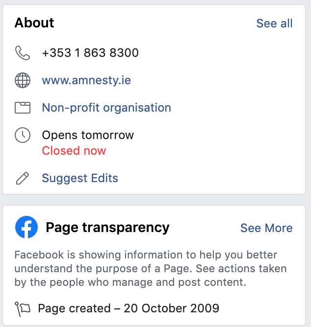 Facebook page transparency about page