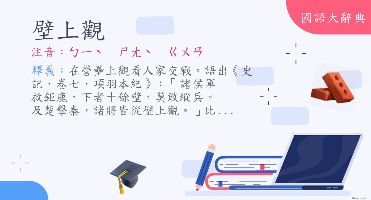 詞語:壁上觀 (注音:ㄅㄧˋ ㄕㄤˋ ㄍㄨㄢ) | 《國語大辭典》?