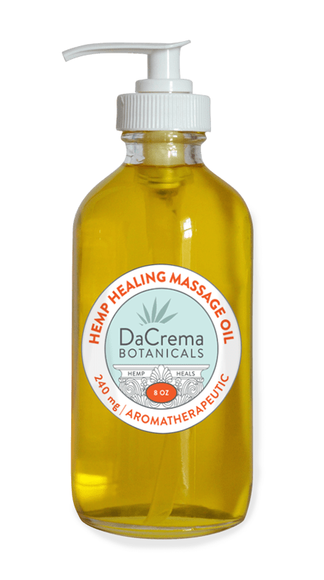 Dacrema Botanicals CBD infused massage oil 8oz bottle
