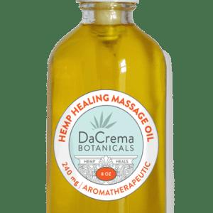 Dacrema Botanicals CBD infused massage oil 8oz bottle