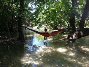 Hanging out over the creek